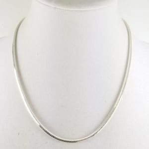 """Sterling Silver 20"""" Squared Snake Necklace"""